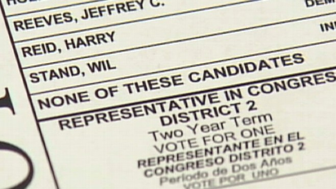 Video: Nevada voters none of the above ballot choice.