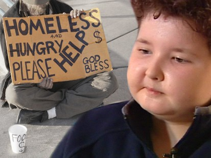 Picture of homeless person and Brenden Foster.