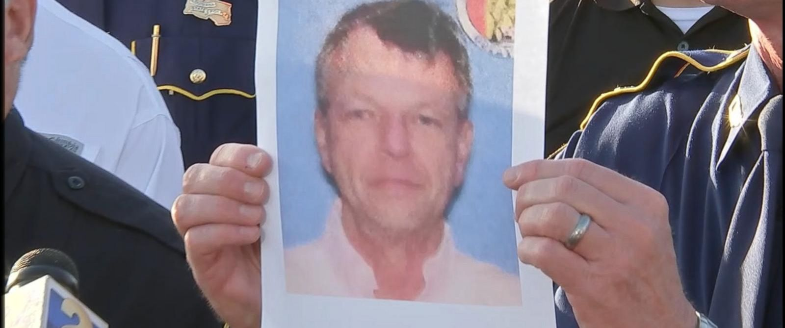 PHOTO: A photo of John Houser, who shot several people in a Lafayette movie theater on July 23, 2015, is shown during a press conference, July 24, 2015.