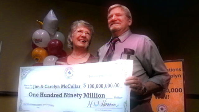 PHOTO: Jim and Carolyn McCullar, bought a winning Mega Millions lottery ticket in Jan. 2011 that was worth $190 million dollars.