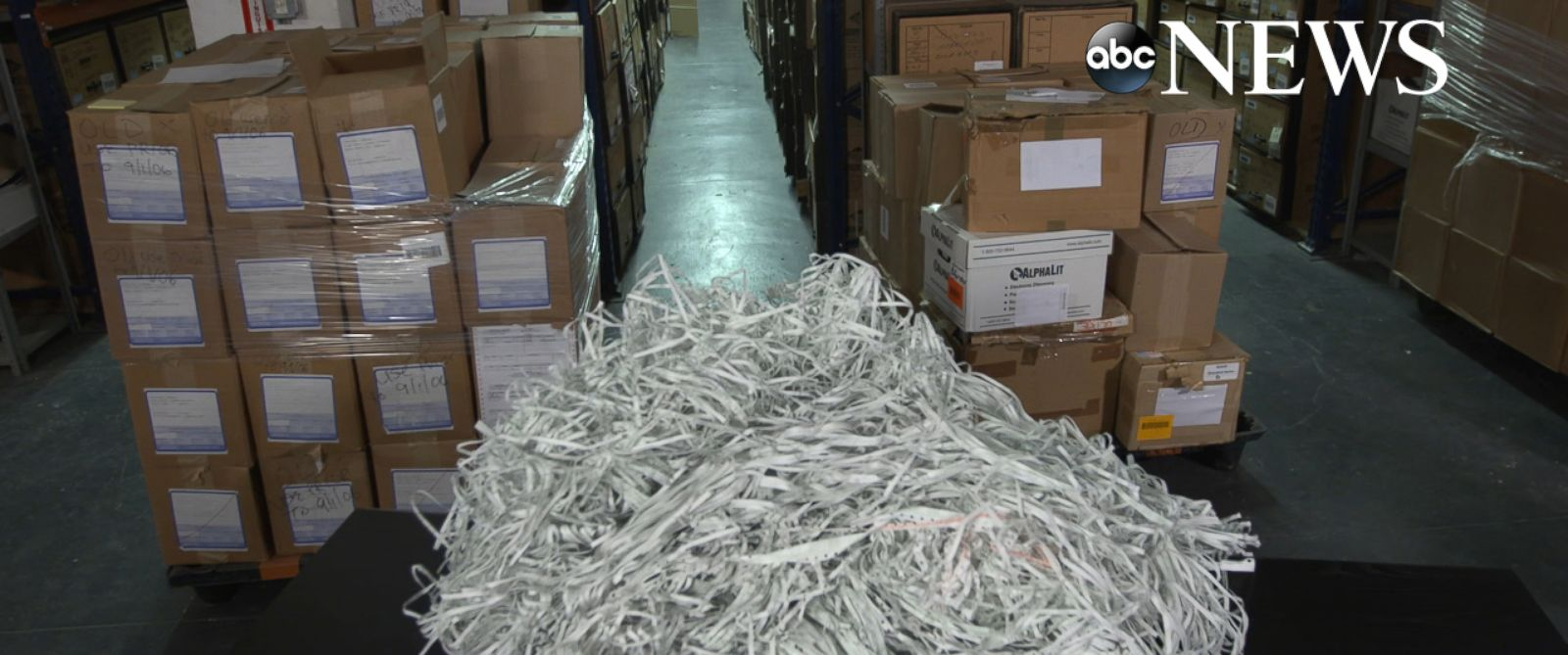 PHOTO: A warehouse in New York holds evidence against Bernie Madoff, including a huge pile of shredded documents.