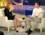 PHOTO: Manti Teo, right, speaks with Katie Couric, during an exclusive interview.