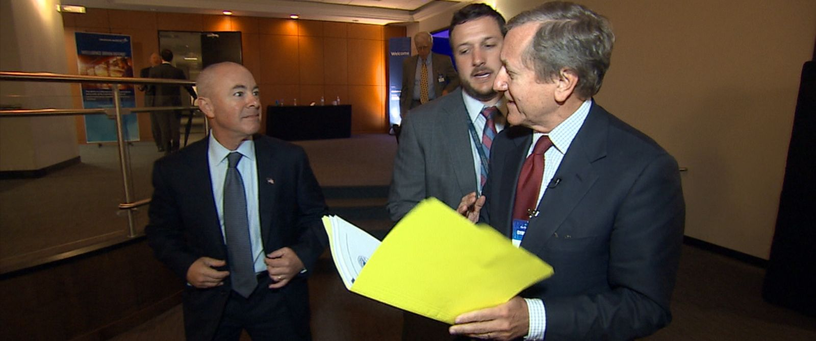 PHOTO: Deputy Secretary of Homeland Security Alejandro Mayorkas declines to answer questions on camera from ABC News Chief Investigative Correspondent Brian Ross.