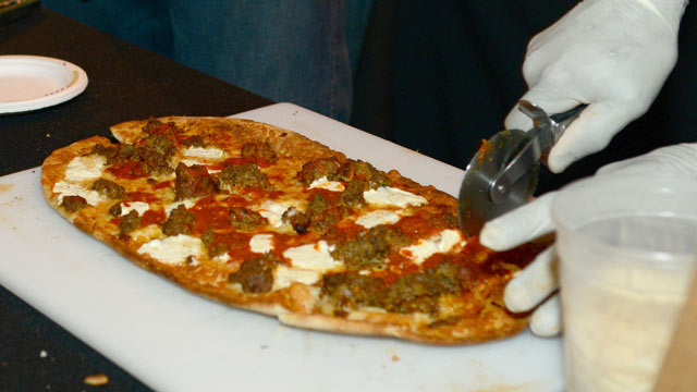 PHOTO: High Heat PIzza Burger and Taps Served their special meatball pizza at the Wine and Food Festival's Meatball Madness, New York City, Oct. 12, 2012.