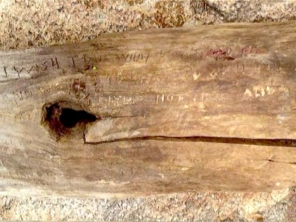 PHOTO: Vilhauer didnt think hed make it out alive and began carving his final notes to his family on this piece of wood.