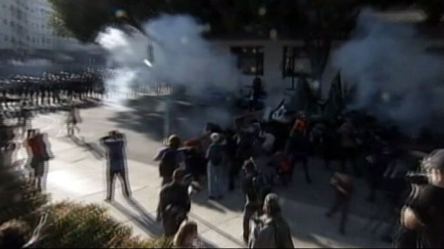 VIDEO: About 300 protesters were arrested as police swarmed in to halt protests.