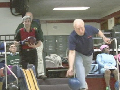 A picture of a member of the Salt City Blind Bowling League.