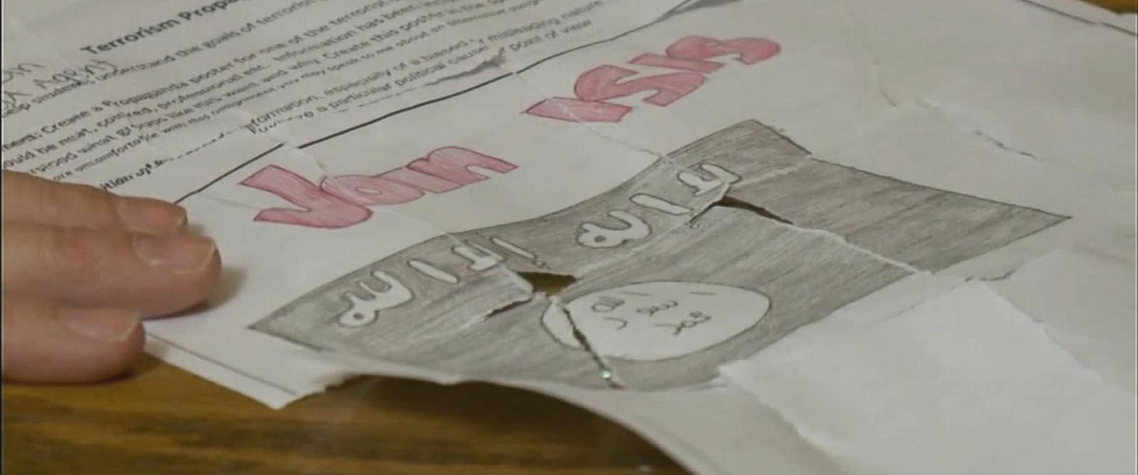 PHOTO: A new teacher at Salem Junior High School in Utah gave an in-class assignment asking students to draw a propaganda poster for ISIS on Nov. 18, 2015.