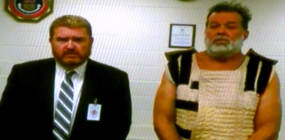 PHOTO: Planned Parenthood shooting suspect Robert Dear appears in court from El Paso County jail via video with public defender Daniel King on Nov. 30, 2015.