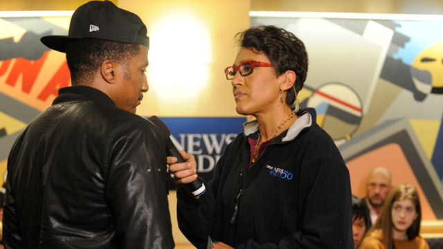 "PHOTO: ABC News Robin Roberts hosts a live radio town hall Wednesday evening to discuss the national dialogue sparked by the shooting death of Trayvon Martin during a special ABC News Radio broadcast, ""Race and Justice: A National Conversation."""