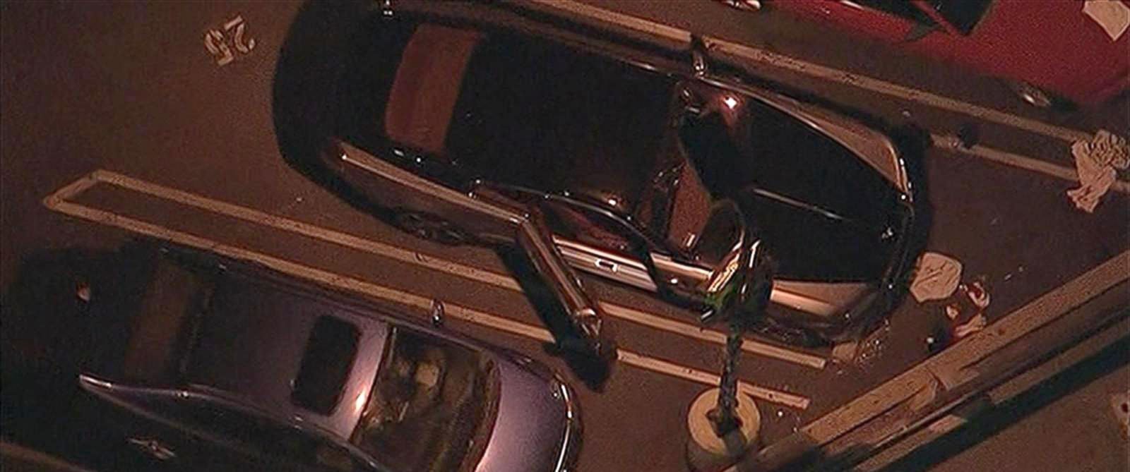 PHOTO: A man sitting inside his Rolls-Royce was shot twice by a gunman riding a bicycle in Hollywood, California, Jan. 16, 2015.