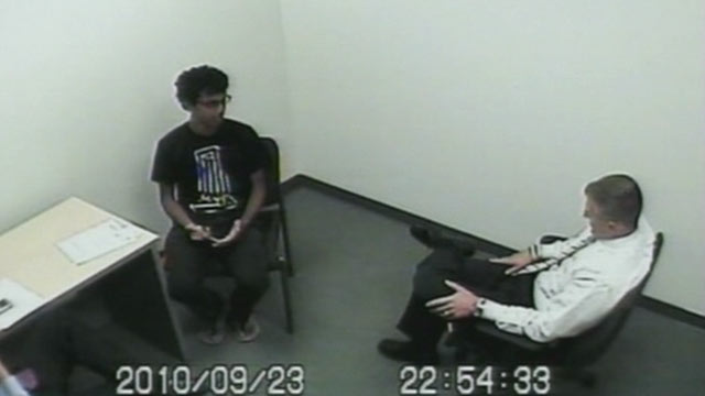 PHOTO: Former Rutgers student Dharun Ravi is pictured being interviewed by detectives about the suicide of his roommate Tyler Clementi, Sept. 23 2012 at the Rutgers police station