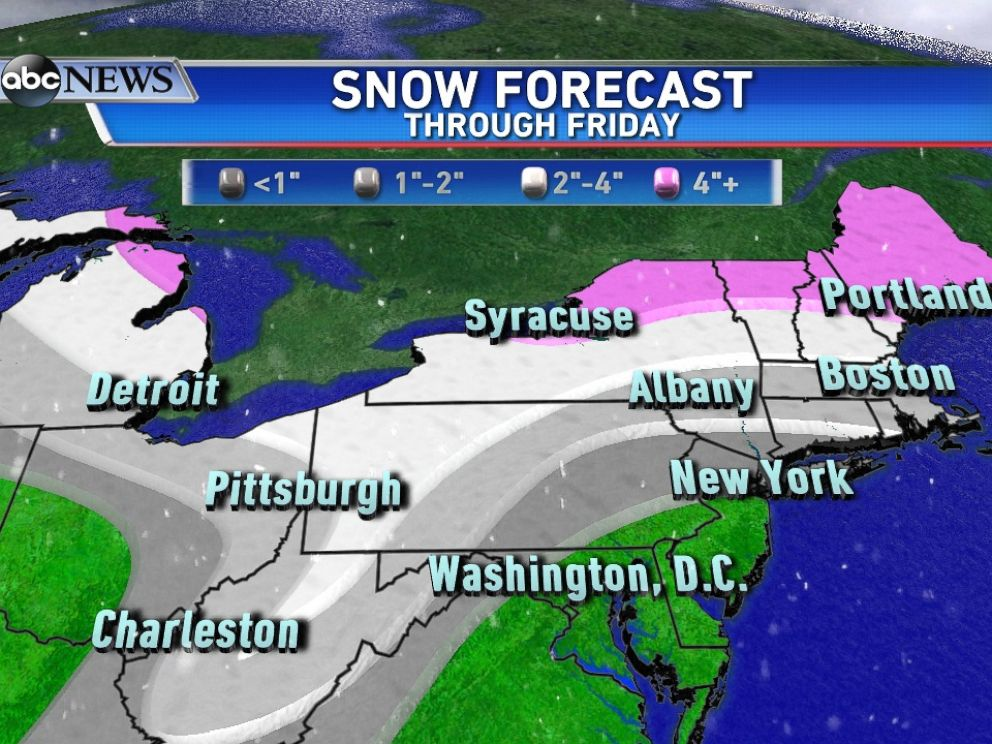 PHOTO: Here is the snow forecast for the clipper system moving from the Midwest to Northeast this week