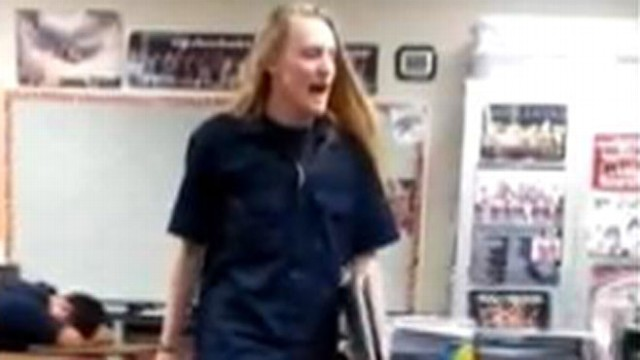 VIDEO: Jeff Bliss, 18, gives his history teacher a piece of his mind after getting kicked out of class.