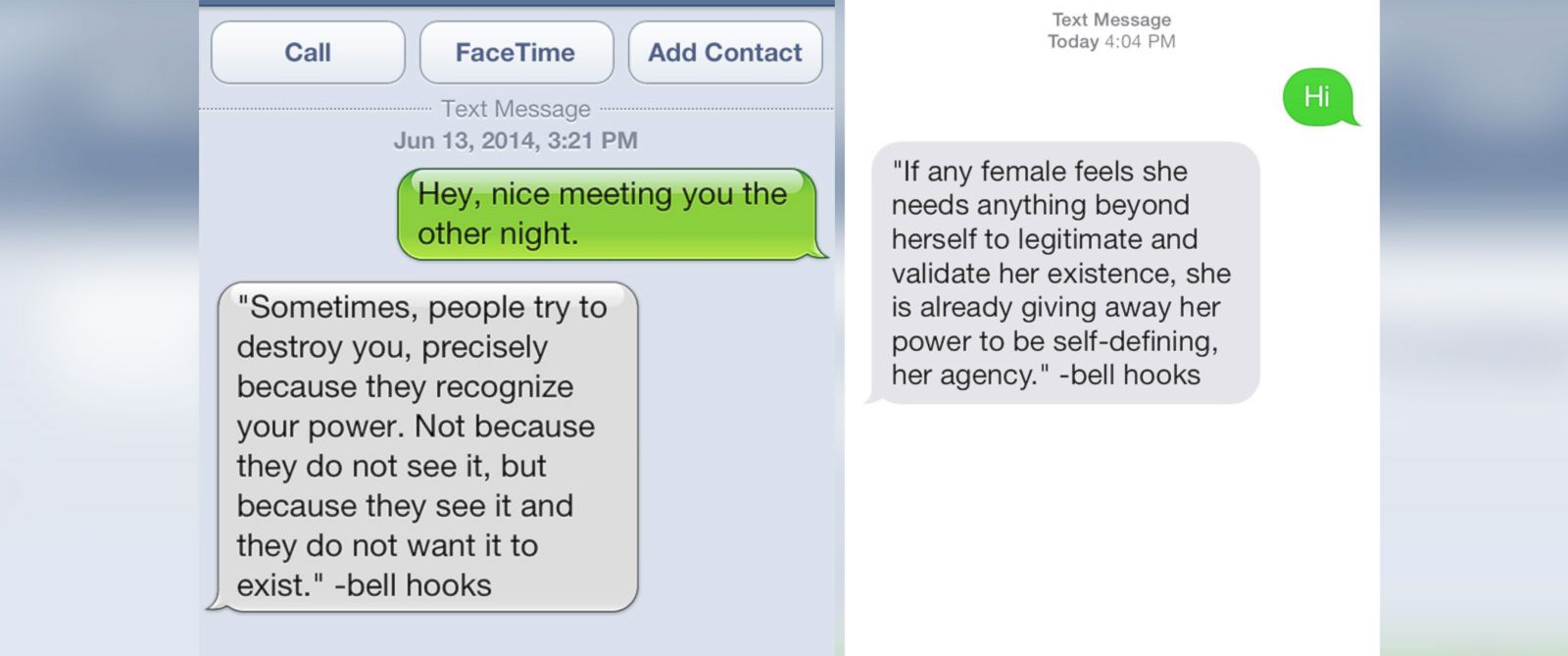 PHOTO: Text messages from the Feminist Phone Intervention line.