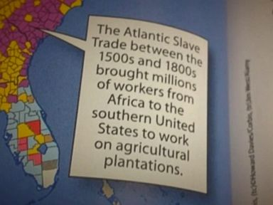 PHOTO: A screen grab from video showing a caption inside a McGraw-Hill textbook that reads, The Atlantic Slave Trade between the 1500s and 1800s brought millions of workers from Africa to the southern United States to work on agricultural plantations.""