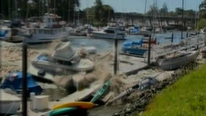VIDEO: Powerful waves from tsunami in Japan reach Northern California town.