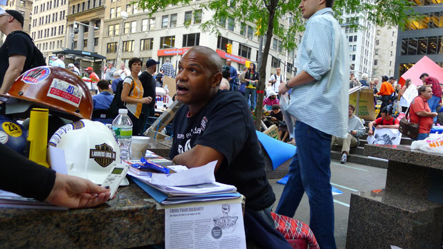 "PHOTO: Joel Smith talks to ABCNEWS.com during ""Occupy Wall Street"" Oct. 11, 2011."