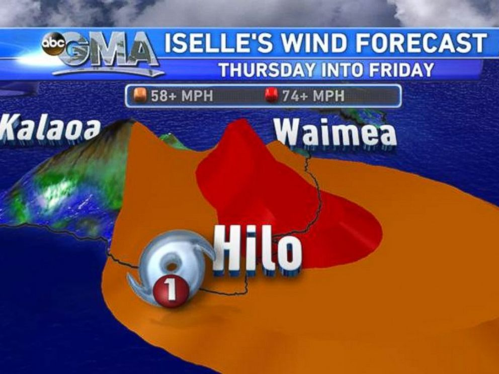 PHOTO: The wind forecast for Iselle Wind Forecast as it moves over the big island of Hawaii.