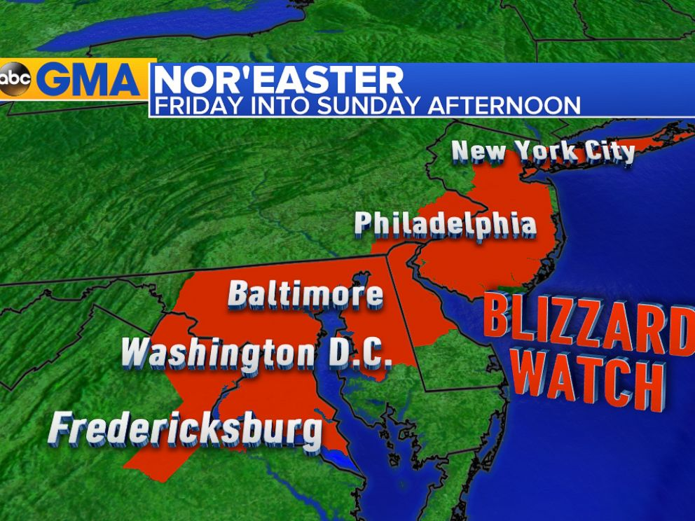 PHOTO: Meteorologists are predicting heavy snow from Virginia to New York on the weekend of January 23.