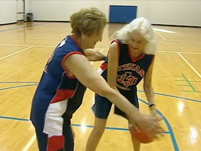 Video granny globetrotters are senior citizens who plays basketball