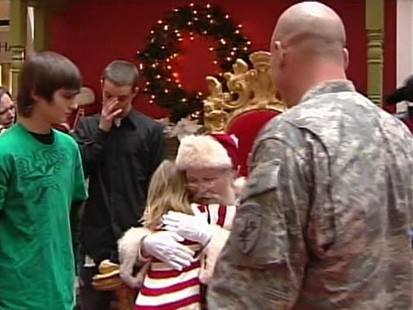 VIDEO: Saint Nick answers a childs wish to bring her father home from Iraq.