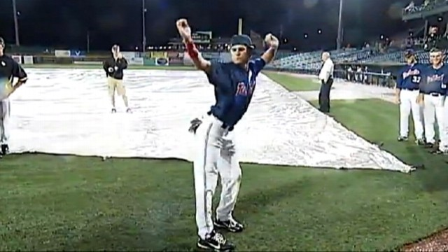 VIDEO: College baseball players perform skits, dance while waiting for rain to stop.