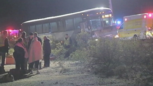 Greyhound bus travelling through Arizona crossed an Interstate median, injuring several people.