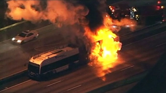 VIDEO: 24 passengers escaped the commuter bus unharmed, reported a popping noise.