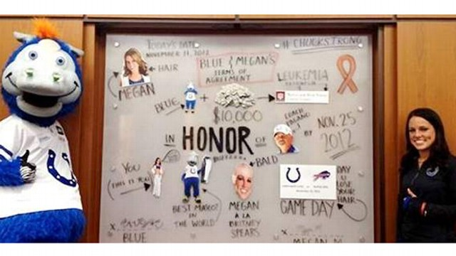 VIDEO: Megan M. takes on challenge in show of support for coach Chuck Pagano and to help raise $10,000.