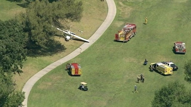 VIDEO: Pilot of second plane survived a belly-flop landing on a Southern California golf course.