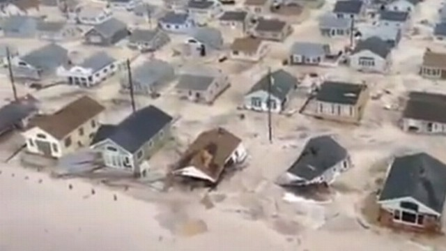 VIDEO: New Jersey Coast Guard helicopter shows devastated Seaside Heights, N.J., in storms aftermath.