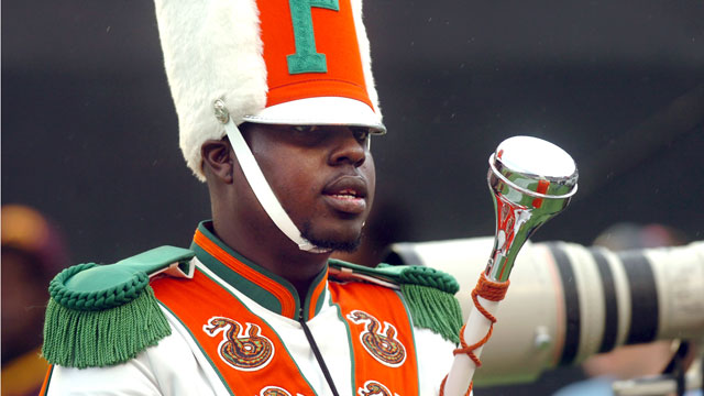 PHOTO: Robert Champion, a drum major in Florida A&M Universitys Marching 100 band, performs during halftime of a football game in Orlando, Fla, Nov. 19 2011.