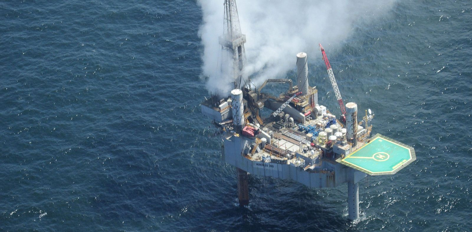 PHOTO: This photo released by the Bureau of Safety and Environmental Enforcement shows natural gas spewing from the Hercules 265 drilling rig in the Gulf of Mexico off the coast of Louisiana, Tuesday, July 23, 2013.