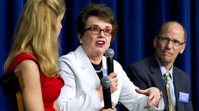 PHOTO: Billie Jean King, with Bonnie Bernstein, left, and Assistant Attorney General for Civil rights Tom Perez, speaks during a forum in the South Court Auditorium at the White House in Washington during a gathering to celebrate the 40th anniversary of T