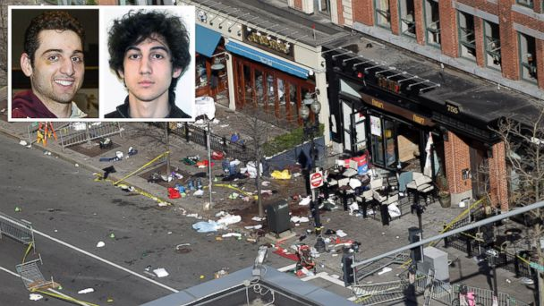 PHOTO: The scene near the finish line of the Boston Marathon is seen in this April 16, 2013 file photo. Inset, suspects Tamerlan and Dzhokhar Tsarnaev are seen. Tamerlan Tsarnaev died after a gunfight with police and Dzhokhar Tsarnaev, was captured.