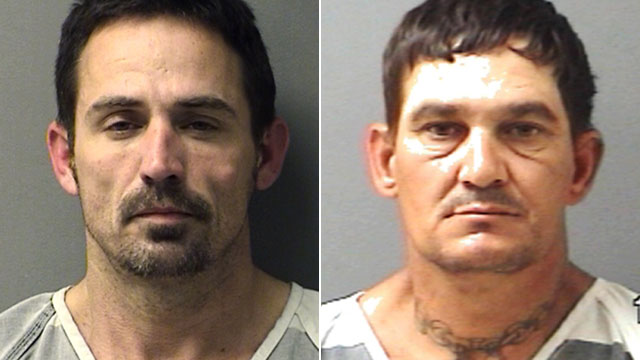 PHOTO: This booking photo provided by the The Hopkins County Sheriffs Office shows John Marlin King, left, and Brian Allen Tucker, right, an inmate awaiting trial on a capital murder charge in a 2011 slaying; the two men broke out of the Hopkins County J