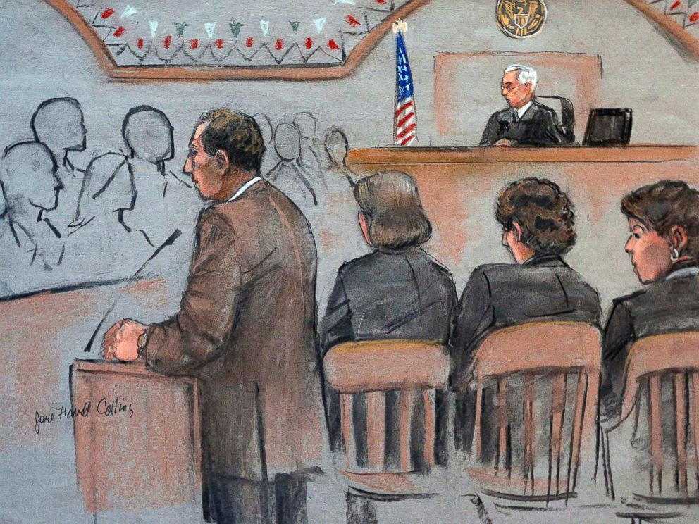 PHOTO: It this courtroom sketch, U.S. Attorney William Weinreb delivers opening statements on the first day of the federal death penalty trial of Boston Marathon bombing suspect Dzhokhar Tsarnaev on March 4, 2015, in Boston.