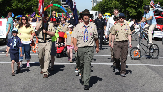 PHOTO: Boy Scouts are shown marching in the Utah Gay Pride Parade Sunday, June 2, 2013, in Salt Lake City.