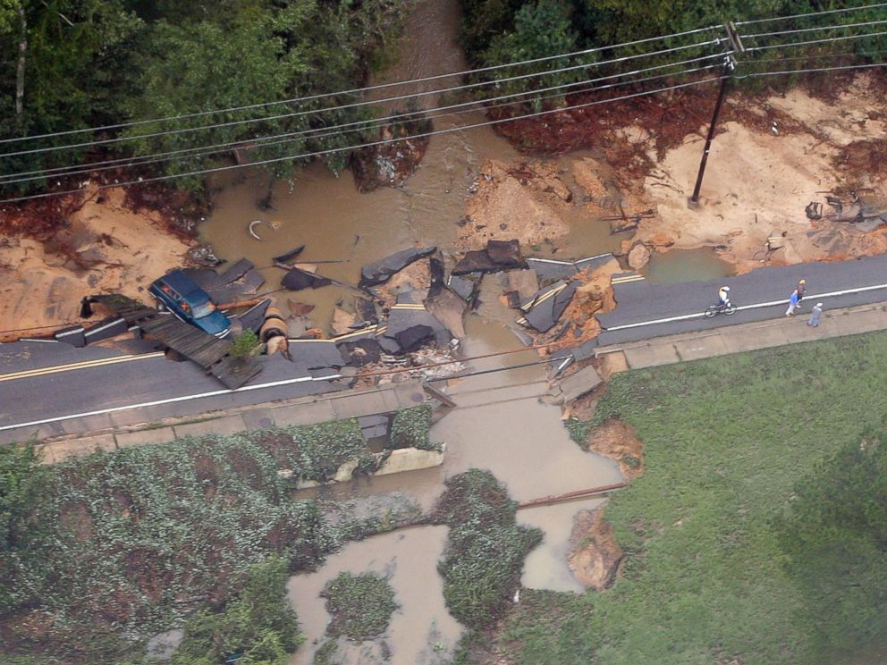 PHOTO: A truck rests off a washed out road outside of Columbia, S.C., Oct. 5, 2015.