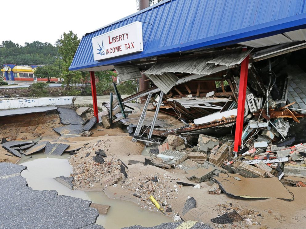 business is destroyed by flooding near Gills Creek in Columbia, S.C ...