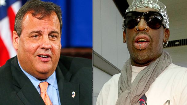 PHOTO: New Jersey Gov. Chris Christie is seen in this June 10, 2013 file photo while Retired NBA star Dennis Rodman arrives at the Beijing capital airport Sept. 7, 2013 file photo.