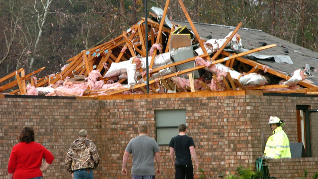 PHOTO: A house in Tioga, La., is severely damaged after an apparent tornado tore through the area, Dec. 25, 2012.