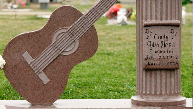 PHOTO: A view of the tombstone of songwriter Cindy Walker in the Mexia cemetery in Mexia, Texas, Feb. 9, 2007.