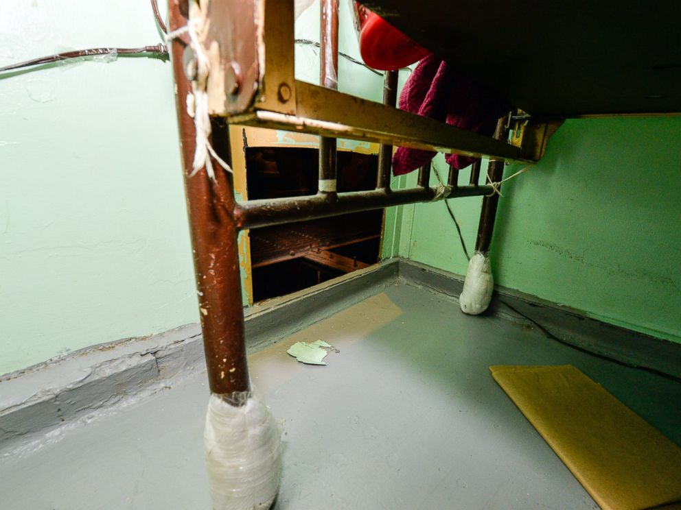 PHOTO: The area where two convicted murderers used power tools to cut through steel pipes at a maximum-security prison in Dannemora, NY, and escaped through a manhole, New York Gov. Andrew Cuomo said Saturday, June 6, 2015.