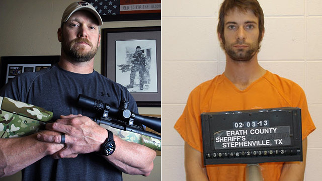 "PHOTO: Chris Kyle, former Navy SEAL and author of the book ""American Sniper"" poses in Midlothian, Texas, April 6, 2012. (Right) Eddie Ray Routh has been charged with killing Chris Kyle."