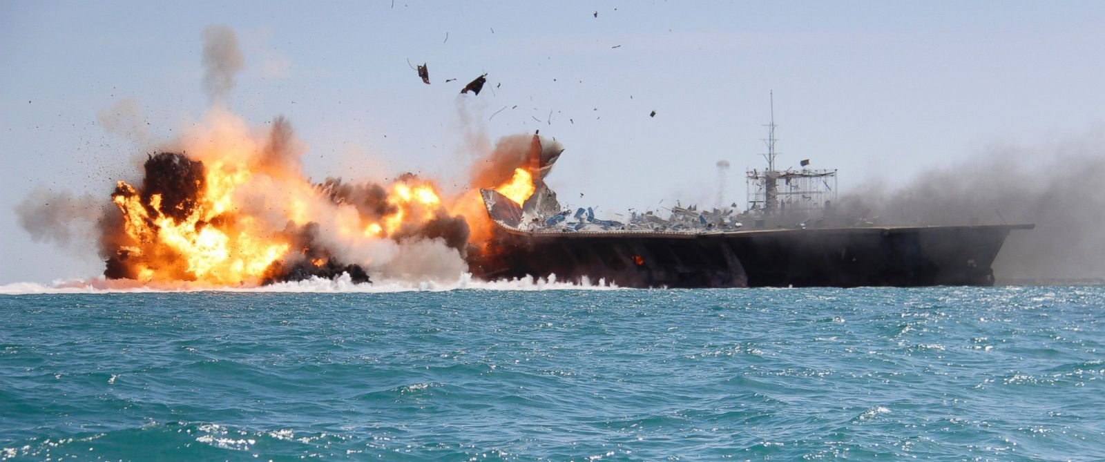 PHOTO: In this picture released by the Iranian Tasnim news agency, Feb. 25, 2015, shows a replica of a U.S. aircraft carrier exploded by the Revolutionary Guards speedboats during large-scale naval drills near the entrance of the Persian Gulf, Iran.