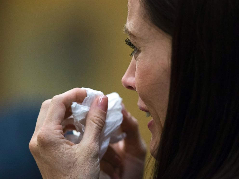 PHOTO: Tanisha Sorenson, a sister of Travis Alexander, reacts during the sentencing of Jodi Arias in Maricopa County Superior Court, April 13, 2015, in Phoenix.