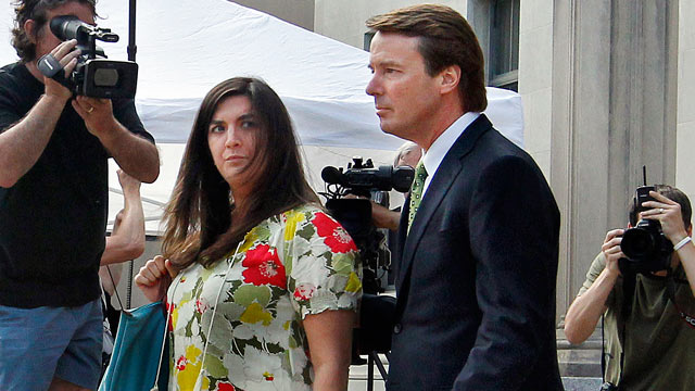 PHOTO: After a reporter yells a question about testimony in todays court proceedings Cate Edwards glances at her father, former Sen. John Edwards as they leave the Federal Courthouse in Greensboro, N.C., May 2, 2012.