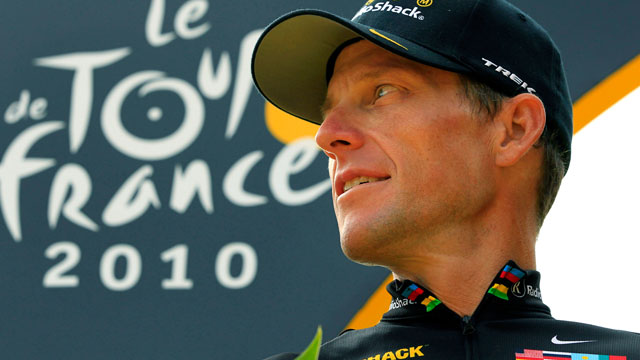 PHOTO: In this July 25, 2010, file photo, Lance Armstrong looks back on the podium after the 20th and last stage of the Tour de France cycling race in Paris, France.